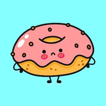 Leuk grappig droevig donutkarakter