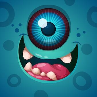 Leuk, grappig, gek monster karakter. helloween illustratie