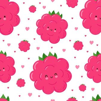 Leuk grappig gelukkig frambozen en harten naadloos patroon.