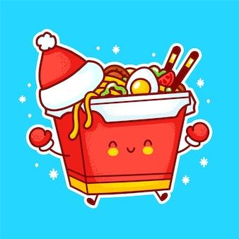 Leuk grappig gelukkig wok noodle box karakter in kerstmuts. platte lijn cartoon kawaii karakter illustratie pictogram. geïsoleerd op witte achtergrond aziatisch eten, noedels, wok box karakter concept