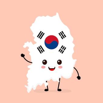 Leuk grappig glimlachend gelukkig de kaart en vlagkarakter van zuid-korea.