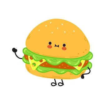 Leuk grappig hamburger zwaaiend handkarakter