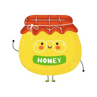 Leuk grappig karakter van de honing. hand getekend cartoon kawaii karakter illustratie. geïsoleerd op witte achtergrond. honing karakter concept