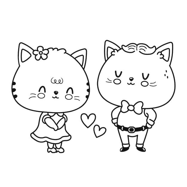 Leuk grappig kattenpaar. vector platte lijn cartoon kawaii karakter illustratie pictogram. geïsoleerd op een witte achtergrond. geïsoleerde schets cartoon afbeelding voor kleurboek