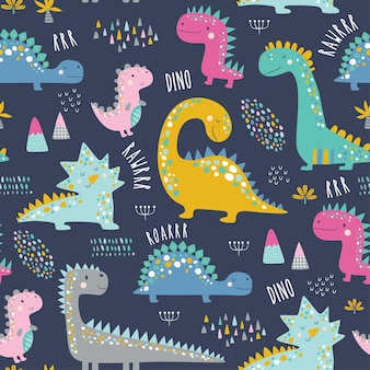 Leuk grappig kinder dinosaurussen patroon.
