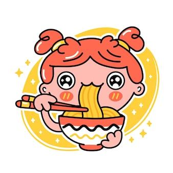 Leuk grappig meisje eet noedels uit kom