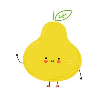 Leuk grappig perenfruitkarakter. hand getekend cartoon kawaii karakter illustratie. geïsoleerd op witte achtergrond. peren fruit karakter concept