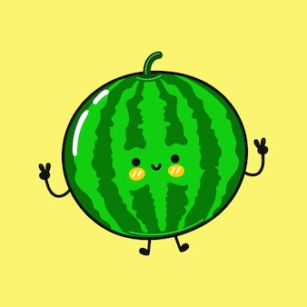 Leuk grappig springend watermeloenkarakter