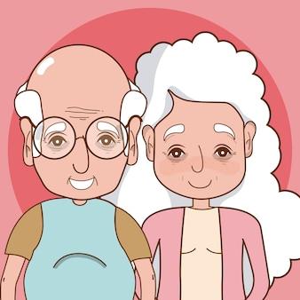 Leuk grootoudersbeeldverhaal over kleurrijke achtergrond