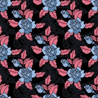 Leuk hand getekend abstract stijlpatroon in rozen