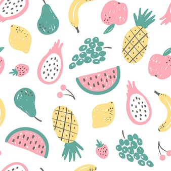 Leuk handgetekend fruitpatroon, tropisch voedselbehang