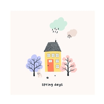 Leuk handgetekend klein huis met lentebomen, regenachtige wolk. gezellige hygge scandinavische stijlsjabloon voor ansichtkaart, poster, wenskaart, kinder t-shirt design. vectorillustratie in platte cartoonstijl