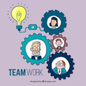 Leuk handgetekend teamwork concept