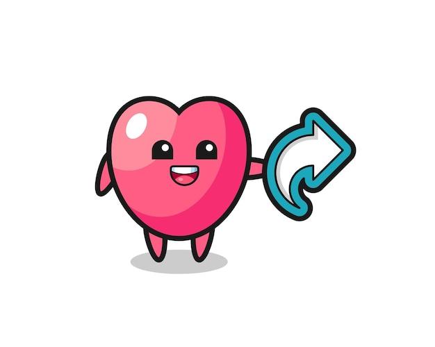 Leuk hartsymbool houdt sociale media-aandeelsymbool, schattig stijlontwerp voor t-shirt, sticker, logo-element