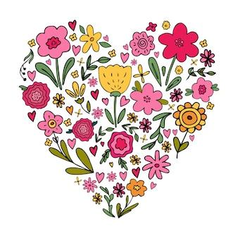 Leuk hartvormig boeket met verschillende bloemenbloemkrabbels in eenvoudige handgetekende kinderachtige stijl