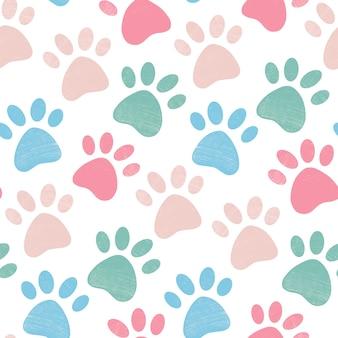 Leuk helder naadloos patroon met krijtpotlood getextureerde dierenpoot in pastelkleuren