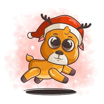 Leuk hertenkarakter die de illustratie van de kerstmishoed dragen