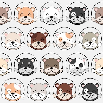 Leuk hondenpatroon, verschillende honden naadloos behang. eps 10 vector.