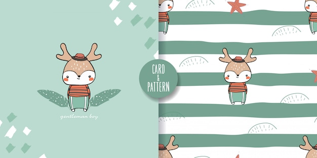 Leuk huisdier fawn naadloos patroon en illustratie