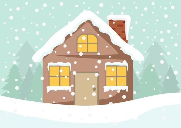 Leuk huisje met licht vanuit de ramen Premium Vector
