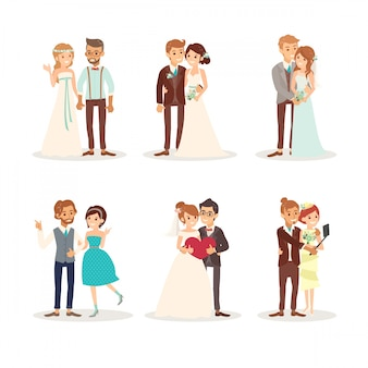 Leuk huwelijk paar bruid en bruidegom vector cartoon illustratie