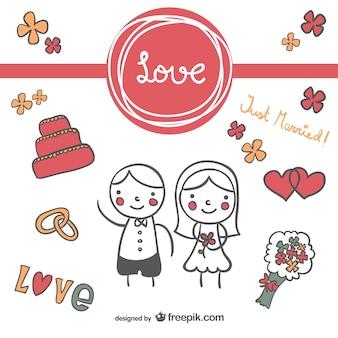 Leuk huwelijk winkelwagen doodle uitnodiging