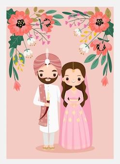 Leuk indisch huwelijkspaar op de uitnodigingskaart van het bloemhuwelijk