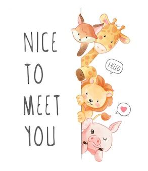 Leuk je te ontmoeten slogan met dierenvriendillustratie