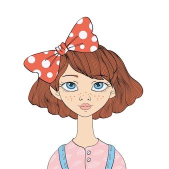 Leuk jong blauwogig meisje met een boog in haar haar. portret illustratie, geïsoleerd op een witte achtergrond.