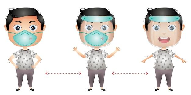 Leuk jongenskarakter dat gezichtsscherm en masker gebruikt