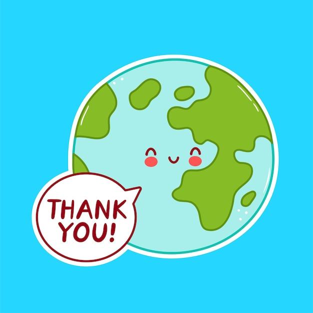 Leuk karakter van de planeet aarde geïsoleerd op blauw