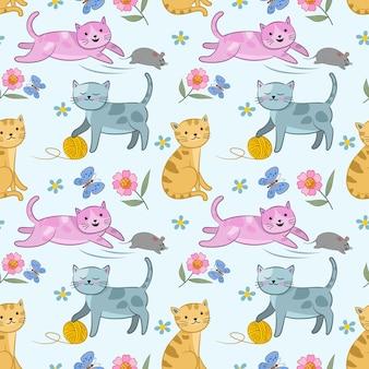 Leuk kat en ratten naadloos patroon