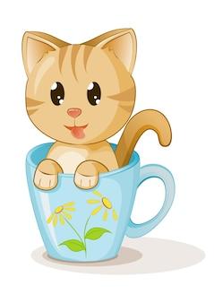 Leuk katje in het beeldverhaalwit van de kopkoffie
