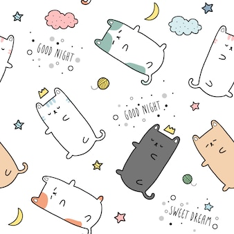 Leuk katkatje slapen cartoon doodle naadloze patroon