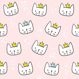 Leuk katten naadloos patroon. voor afdrukken, babykleding, t-shirt, kind, inpakpapier, behang. vectoreps10