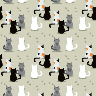 Leuk katten naadloos patroon.