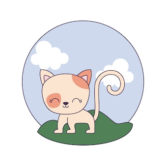 Leuk kattendier in landschapsscène