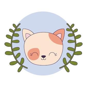 Leuk kattendier met kroon doorbladert