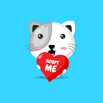 Leuk kattenkarakter dat een hart houdt