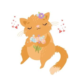 Leuk kattenkarakter in liefde met bloemen