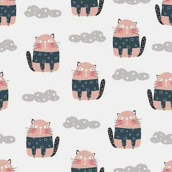 Leuk kattenpatroon - hand getrokken kinderachtig katje naadloos patroonontwerp