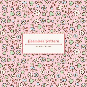 Leuk kawaii bloemen transparant naadloos patroon
