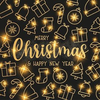 Leuk kerstbehang met platte kerstpictogrammen met gouden textuur