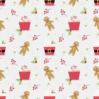 Leuk kerstmis cupcake naadloos patroon