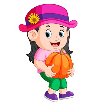 Leuk kind dat grote pompoen houdt