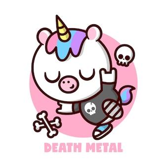 Leuk kleine eenhoorn met kleurrijk haar en gele hoorn en draagt zwart t-shirt met een schedel logo cartoon karakter en mascot