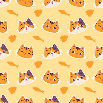 Leuk kleurrijk kattenkatje met vissen en kattenkruid naadloos patroon