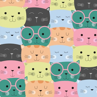 Leuk kleurrijk kattenpatroon