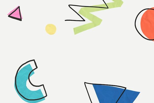 Leuk kleurrijk memphis handgetekend patroonbehang