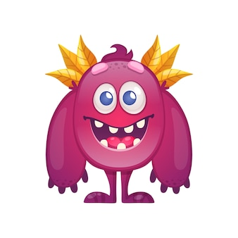 Leuk kleurrijk monster met grote armen en bladeren op hoofd cartoon afbeelding